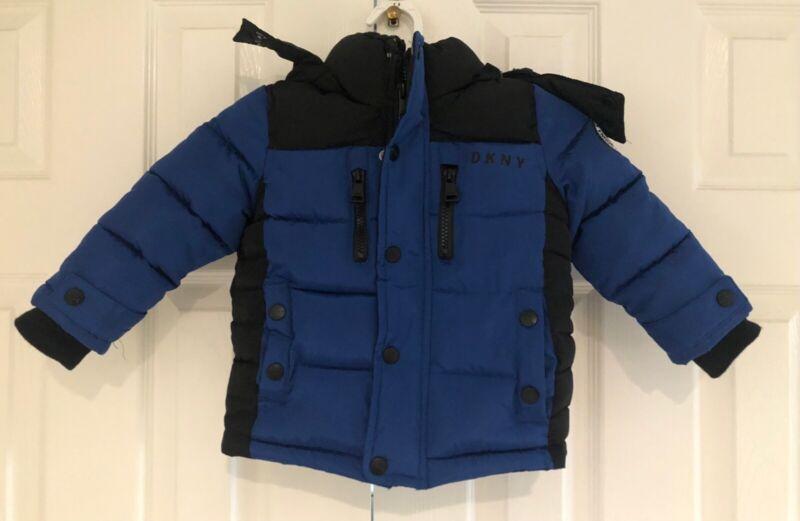DKNY Little Boys Royal Blue & Black Removable Hooded Puffer Jacket - Size 2T