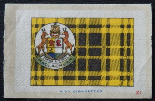 MACLACHLAN Clan Tartan and Coat of Arms 99 year old SILK card issued in 1922