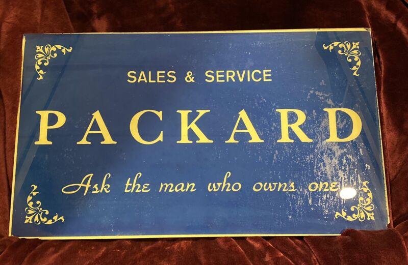 Original Dealership Glass Packard Office Sign