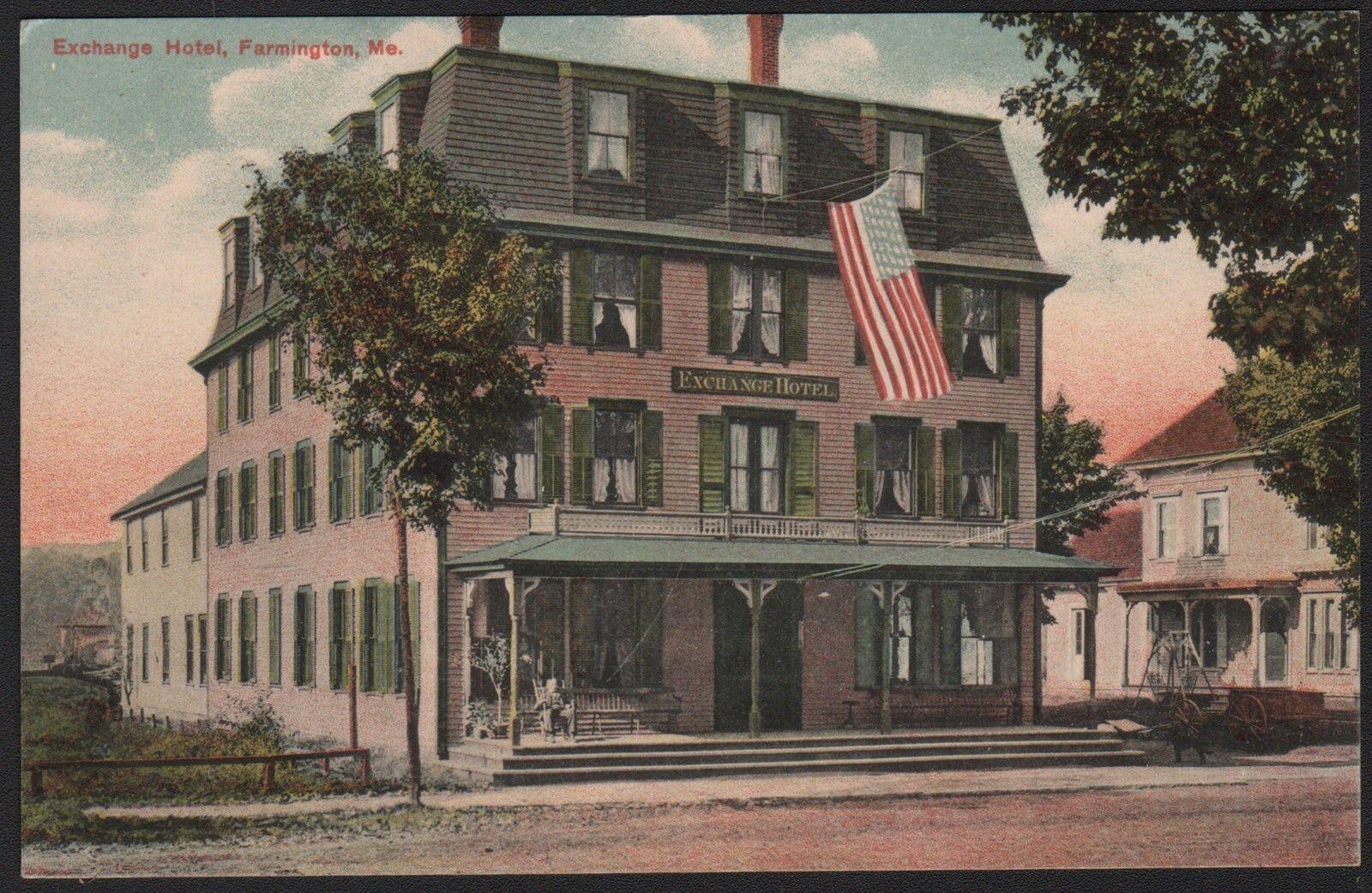 Postcard Farmington Maine Me Exchange Hotel Ebay