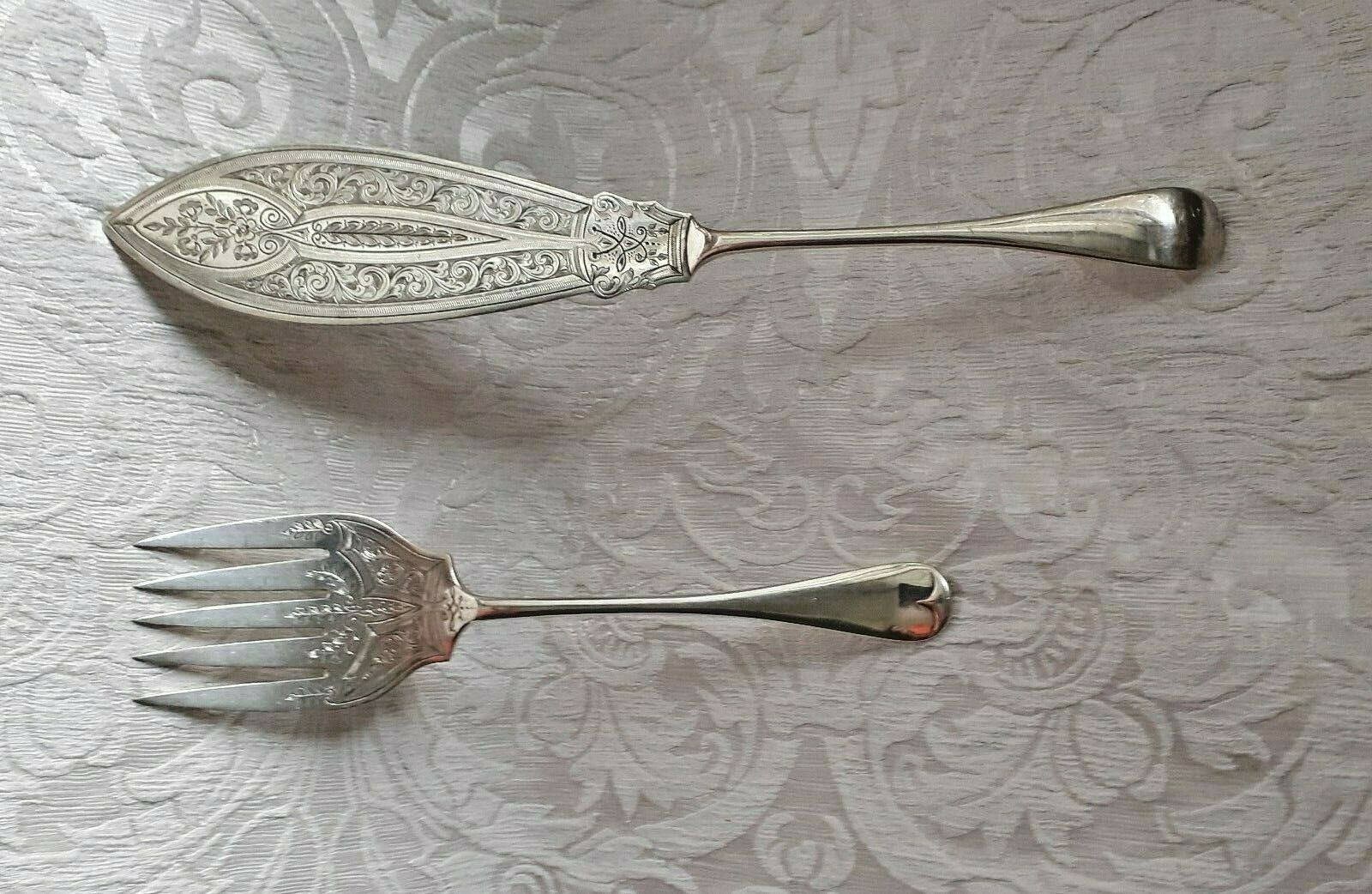 Posate per servire pesce Sheffield Old English Neo-Gothic Fish Servers c1870
