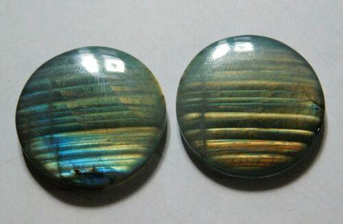 51.15 Cts Natural Labradorite (25mm X 24.5mm each) Cabochon Match Pair