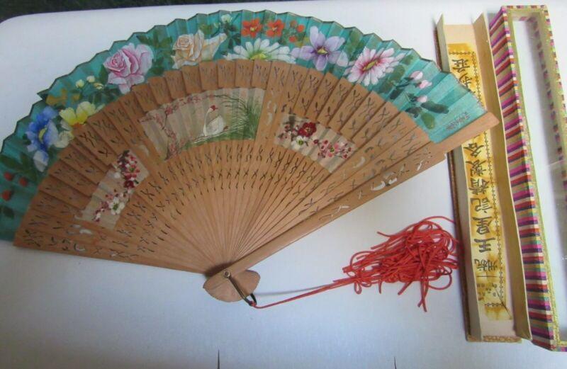 Antique Chinese Silk & Sandalwood Hand Fan Wang Sin Kee Shop in Shanghai 1940's