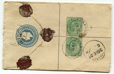 India KEVII 2a postal stationery registered envelope used 1909 + 2 x ½a