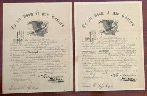 2x Gettysburg Civil War Vermont  Discharge s Father and Son 12th VT  1863