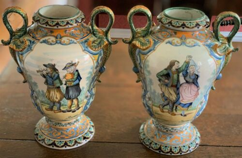 Magnificant Pair of early Quimper Urns by Henriot