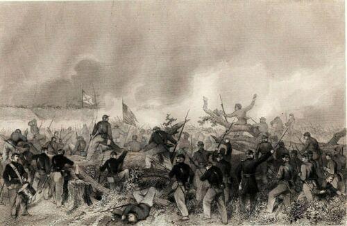 Antique Engraving ATTACK ON PORT HUDSON, Civil War -1864
