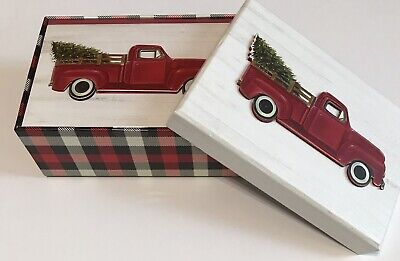12 (3D) New Decorative Box Christmas Cards Red Truck Bringing The Tree Home