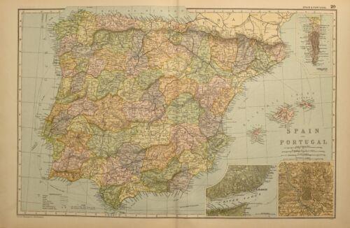 1898 ANTIQUE MAP SPAIN & PORTUGAL MADRID LISBON BALEARIC GIBRALTAR MURCIA
