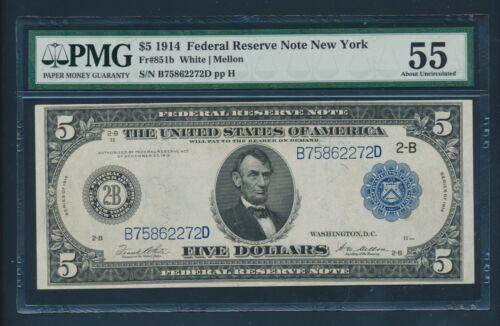 Fr851b $5 1914 Frn New York Pmg 55 Choice Au Bu9241