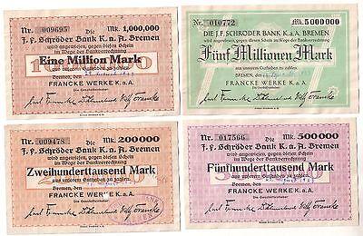 4 Banknoten Inflation Bremen Francke Werke 1923 (113246)