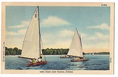 SAILBOATS on WATER Sail Boats Lake Scene Near Goshen Indiana Postcard IN Linen