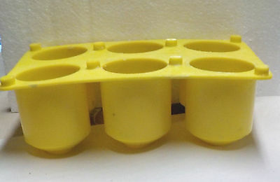 USED 6 CAVITY  PLASTIC VOTIVE CANDLE MOLD WITH WICKING