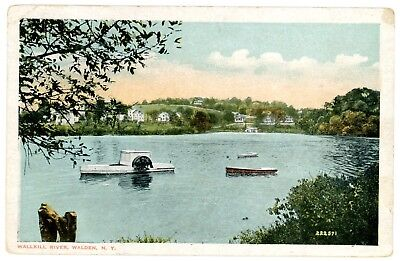 Walden NY - PADDLE WHEEL BOAT ON WALLKILL RIVER - Postcard Orange County for sale  Shipping to Canada
