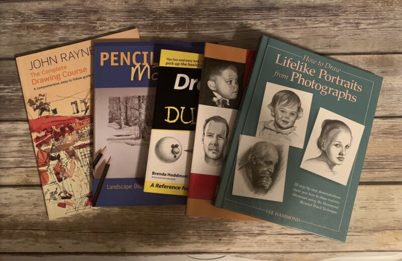 The Complete Drawing Course, Pencil Magic Drawing, Drawing for Dummies Book Lot