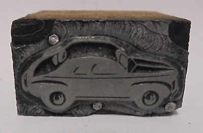 Vintage Letterpress Printing Block Cut Old Coupe Car