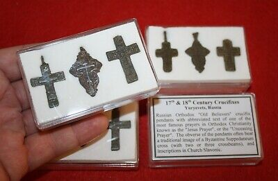 17th 18th century post medieval Crucifix cross collection in display case Russia