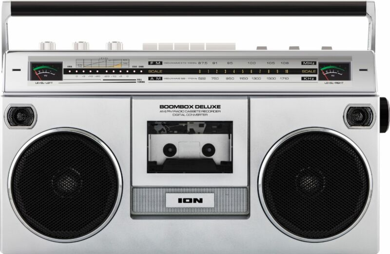 ION Audio - Boombox with AM/FM Radio - Silver