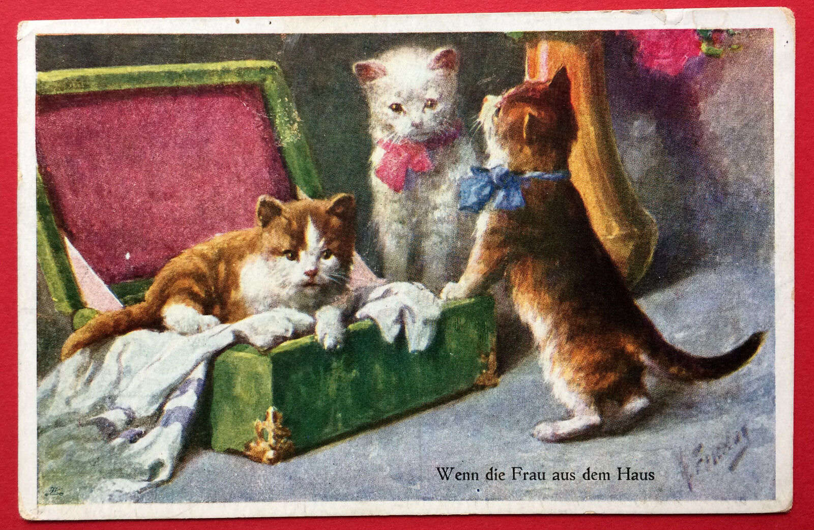 Künstler AK von Freitag 1923 Katzen im und am Koffer    ( 7510