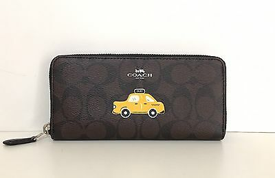 PROMO! Coach NYC Taxi Slim Accordion Zip Wallet in Signature F57822 Brown/Yellow