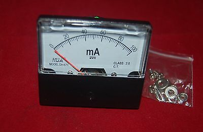 Dc 100ma Analog Ammeter Panel Amp Current Meter 0-100ma 6070mm Direct Connect