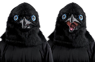 Animated Animal RAVEN BIRD CROW Plastic Face Mask With Moveable Jaw - Crow Halloween Mask