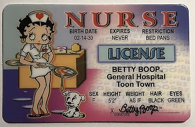 Betty Boop Nurse   Drivers License   Novelty Funny