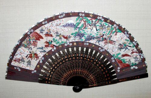 Antique Meiji Japanese Hand Painted Folding Fan Hunting Scene Fujiyama