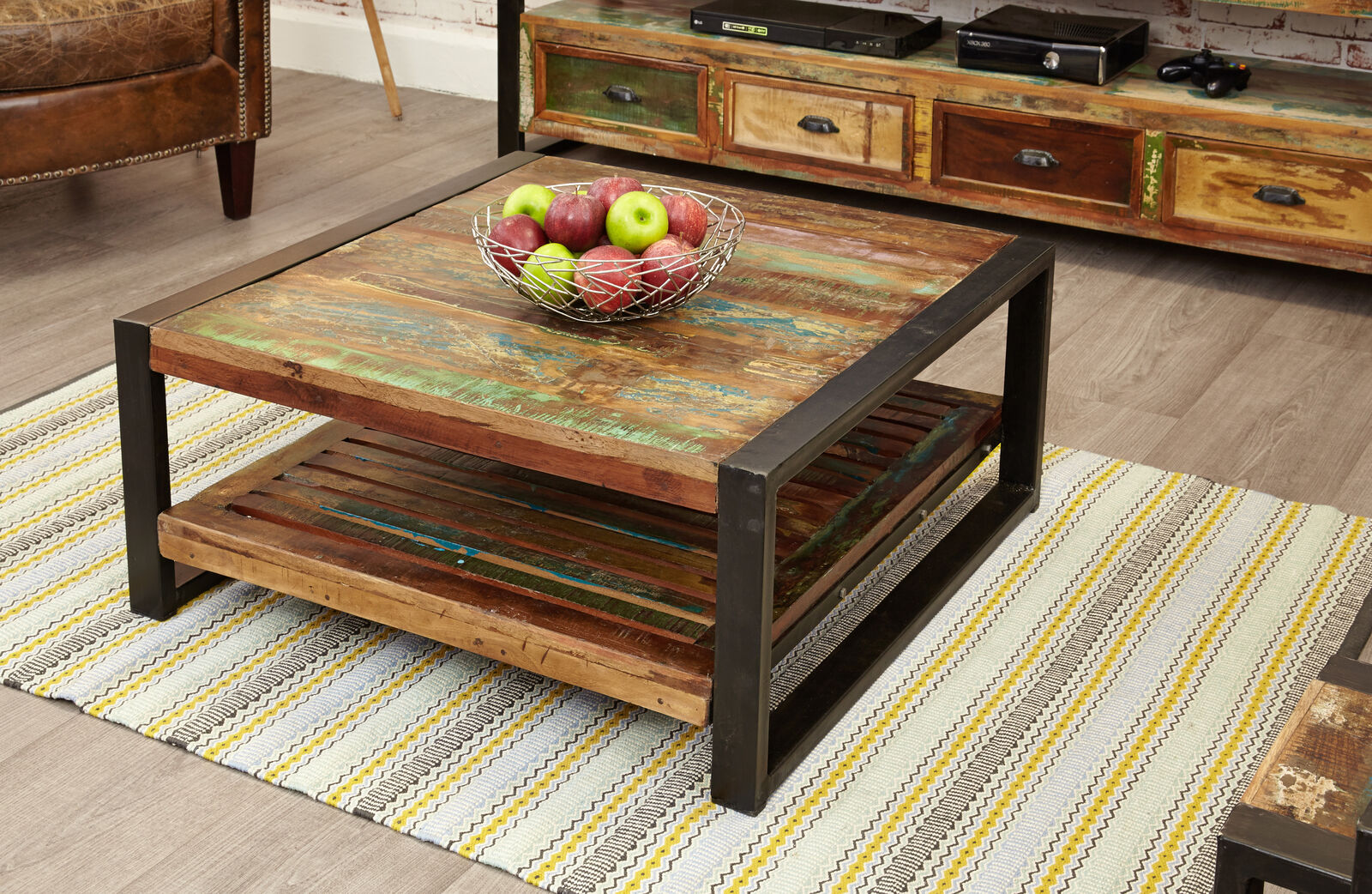 Details About Urban Chic Reclaimed Wood Coffee Table With Shelf Storage Large Steel Frame