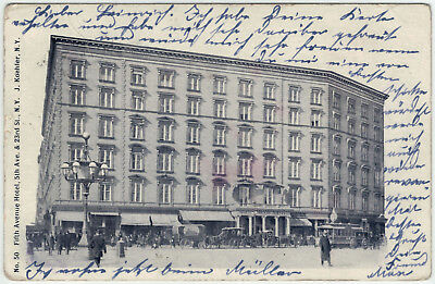 New York - Fifth Avenue Hotel, s./w. Ansichtskarte gelaufen um 1900 -08207-