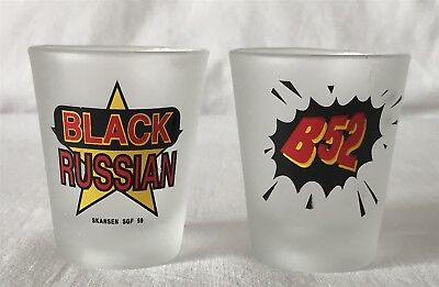 2 Same Series Shot Glasses - Each Featuring a Cocktail Recipe