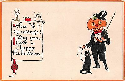1915 Jack O'Lantern Headed Man In Tux with Black Cat Happy Halloween post - Halloween Man In Black