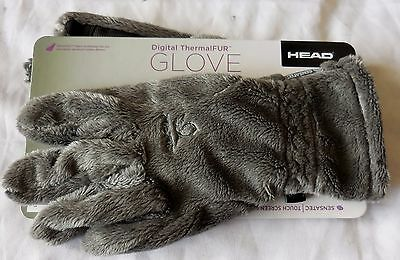 Womens Gloves Winter Warm Touch Screen Fleece Grip Palm Thermal Fur Grey Sz M
