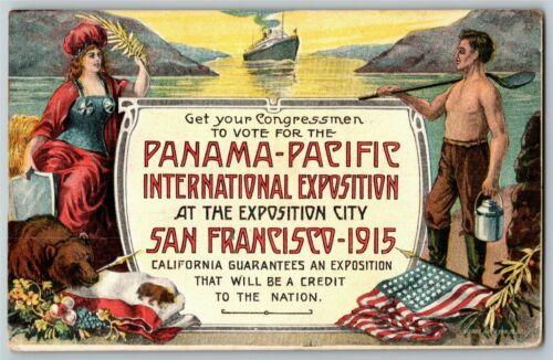 "Vintage 1915 Pan Pacific Exposition San Francisco Postcard ""Congressman to Vote"""