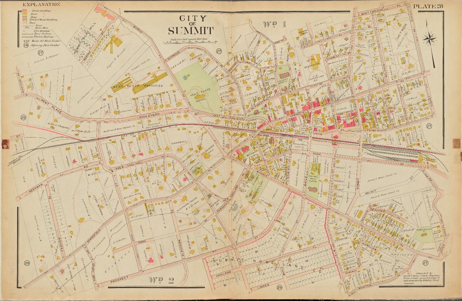 1906 SUMMIT UNION NEW JERSEY KENT PLACE SCHOOL ST TERESAS RC CHURCH ATLAS MAP