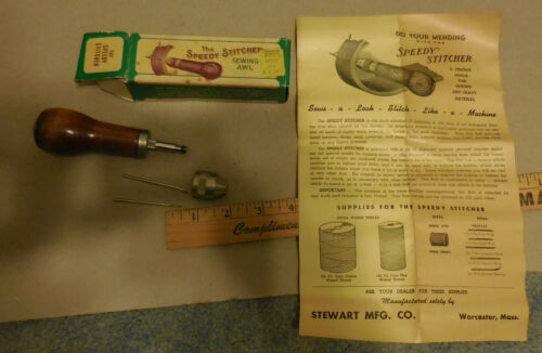 Vintage The Speedy Stitcher Sewing Awl with box Stewart MFG Co USA
