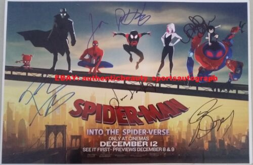 SPIDERMAN INTO THE SPIDERVERSE SIGNED SHAMEIK MOORE+LORD+JOHNSON+MALONE 12x18 RP