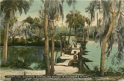 Florida, FL, Tampa, Sulphur Spring, Outlet in Hillsboro River 1910's Postcard
