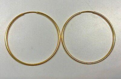 14K Yellow Gold Filled GF Endless Hoop Earrings 38.5mm  (14k Gold Gf Hoop Earring)