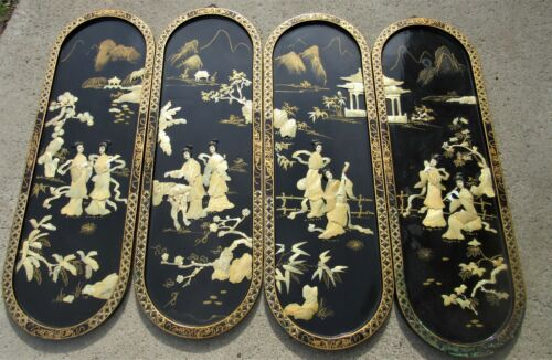 BEAUTIFUL VINTAGE FOUR PANEL CHINESE CARVED PAINTED WALL SCREEN