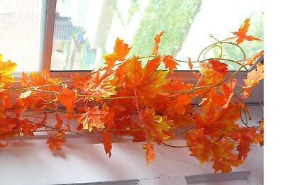 Fall Leaf Garland (Maple Leaf Vines Artificial plants Ivy Hanging Garland (Autumn Red set of)