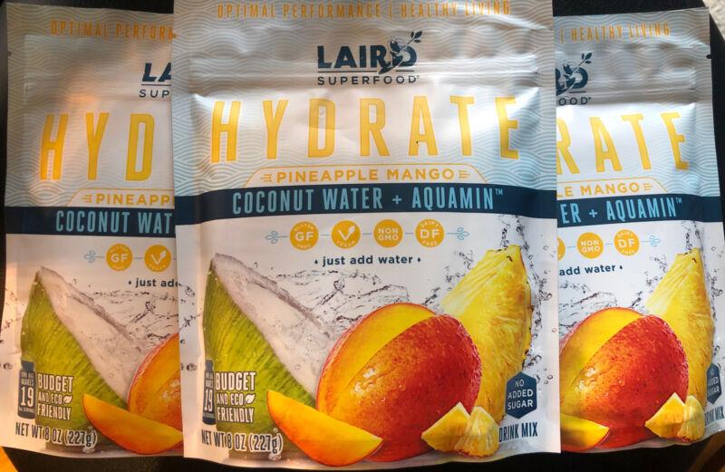 Laird Superfood 8 oz X 3! HYDRATE PINEAPPLE MANGO Coconut H2O Paleo NonGMO 6/21