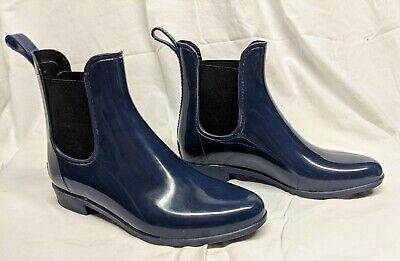 J CREW Navy Blue Rubber Ankle Booties Rain Boots SZ 8Pre-owned