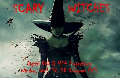 Scary Witches Halloween Window Projector Decoration Hologram Digital MP4 Disc FX (Halloween Hologram Projector)