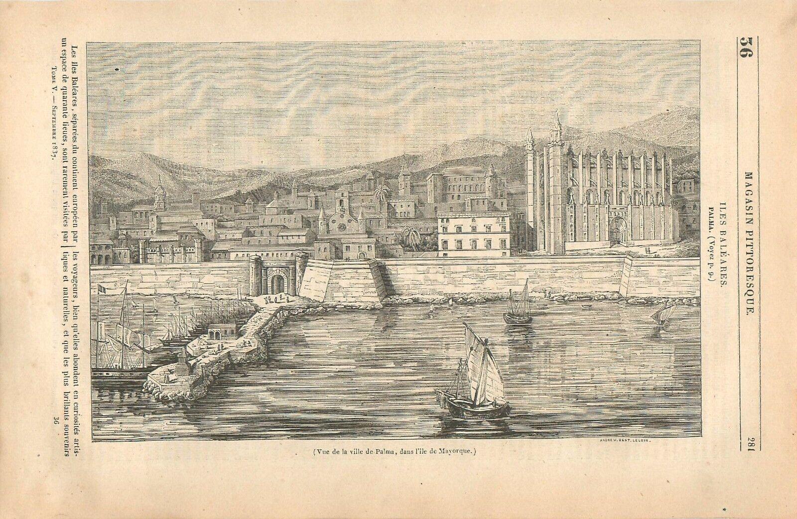 Image Panorama de la ville de Palma de Majorque Îles Baléares Espagne GRAVURE 1837