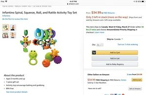 Infantino spiral, squeeze, roll, and rattle set