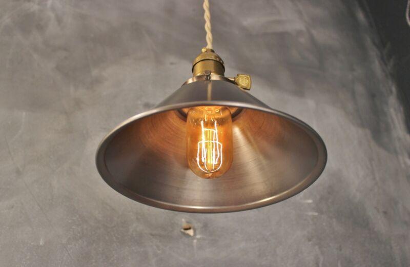 Industrial Lighting - Vintage Pendant Lamp Steel Cone Shade - Steampunk Lamp