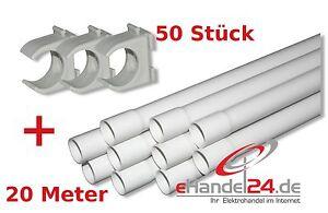 Stangenrohr KUPA Steckrohr M25 - 20 Meter + 50 Stück Schellen