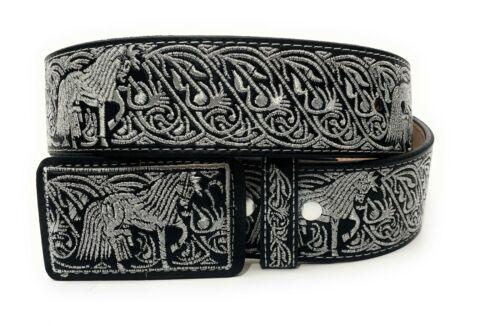 Cinto Charro Bordado Hilo Plateado. Mens Western Silver Embroidered Cowboy Belt