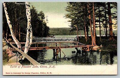 Elkins New Hampshire~Pleasant Lake Outlet~Dam~Wooden Foot Bridge~c1905 Postcard